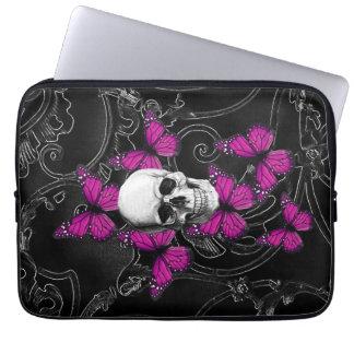 Mariposas del cráneo y de las rosas fuertes de la funda portátil