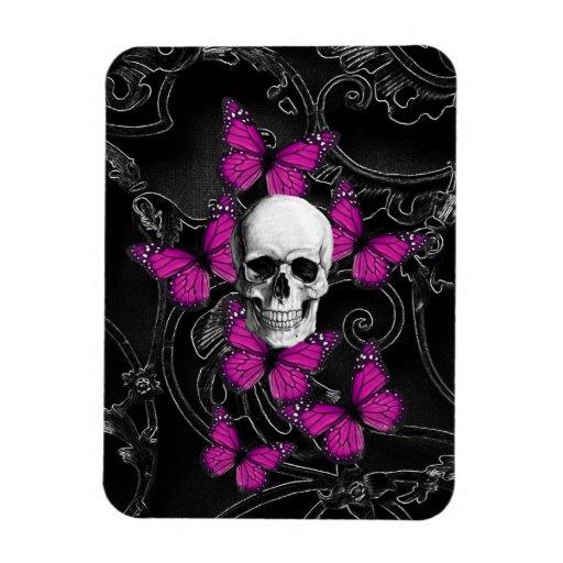 Mariposas del cráneo y de las rosas fuertes de la imanes