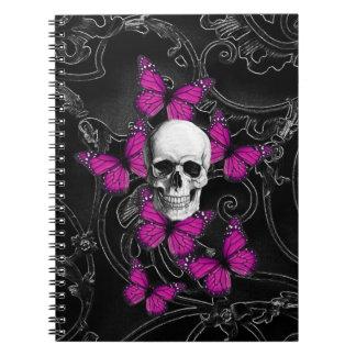 Mariposas del cráneo y de las rosas fuertes de la libro de apuntes