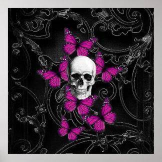Mariposas del cráneo y de las rosas fuertes de la póster
