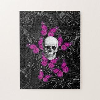 Mariposas del cráneo y de las rosas fuertes de la rompecabezas con fotos