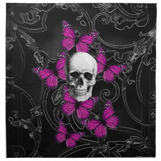 Mariposas del cráneo y de las rosas fuertes de la servilleta imprimida