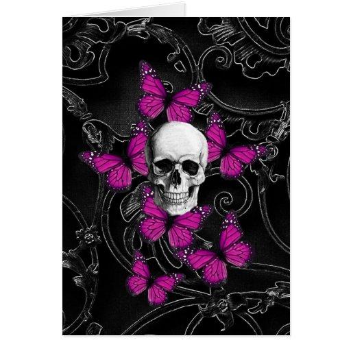 Mariposas del cráneo y de las rosas fuertes de la tarjeta pequeña