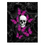Mariposas del cráneo y de las rosas fuertes de la postales