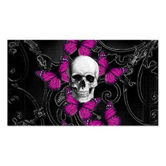 Mariposas del cráneo y de las rosas fuertes de la tarjetas de visita