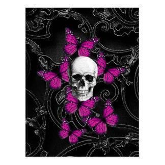 Mariposas del cráneo y de las rosas fuertes de la tarjetas postales