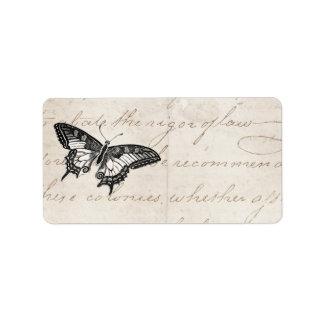 Mariposas del ejemplo 1800 s de la mariposa del vi etiquetas de dirección