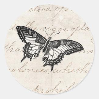 Mariposas del ejemplo 1800's de la mariposa del pegatina redonda