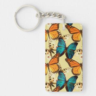 Mariposas del naranja y de la turquesa; Modelo de  Llavero Rectangular Acrílico A Una Cara