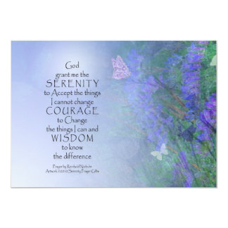 Mariposas del rezo de la serenidad y invitación de invitación 12,7 x 17,8 cm