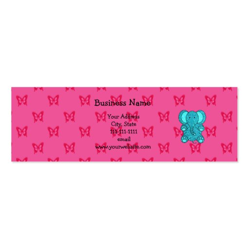Mariposas del rosa del elefante del brillo de la tarjetas de visita mini