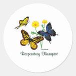 Mariposas del terapeuta respiratorio pegatina redonda