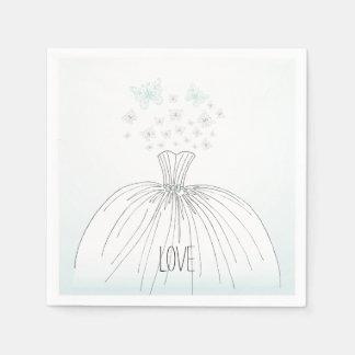 Mariposas del vestido de boda servilletas desechables