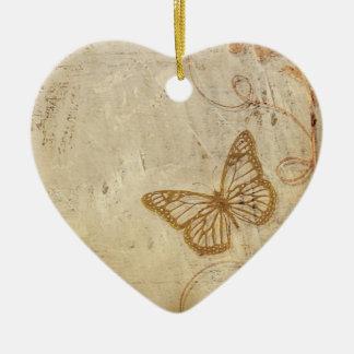 Mariposas del vintage adorno navideño de cerámica en forma de corazón