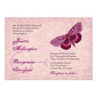 Mariposas del vintage del vino rosado que casan la comunicado personalizado