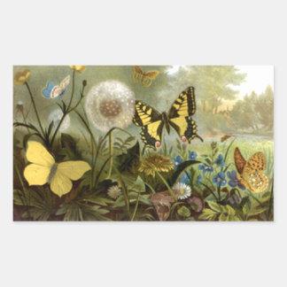 Mariposas del vintage en pegatina rectangular del