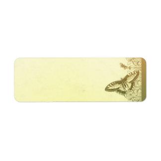 mariposas del vintage que casan etiquetas de direc etiqueta de remite