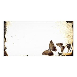 Mariposas del vintage tarjetas con fotos personalizadas