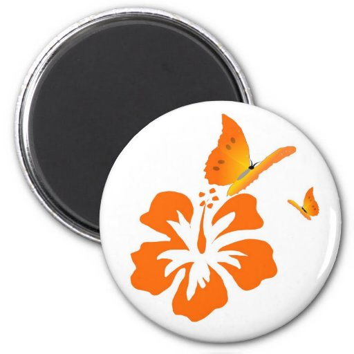 mariposas e hibisco anaranjado imán redondo 5 cm