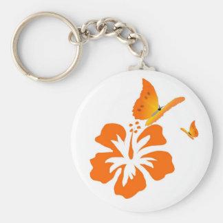 mariposas e hibisco anaranjado llavero redondo tipo pin
