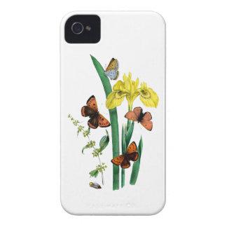 Mariposas e iris amarillo funda para iPhone 4 de Case-Mate