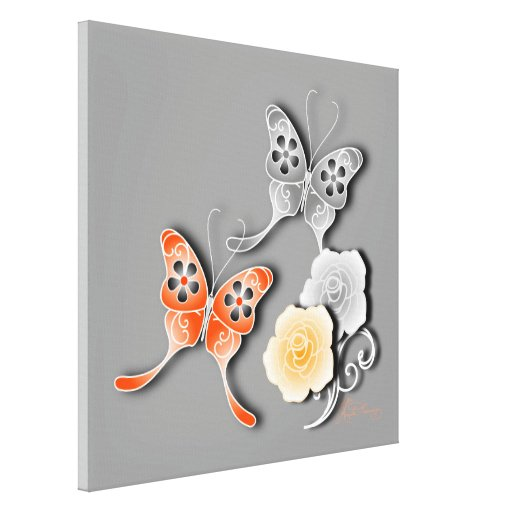 Mariposas elegantes y rosas anaranjados y de plata impresión en lona