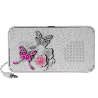 Mariposas elegantes y rosas rosados y de plata mini altavoces