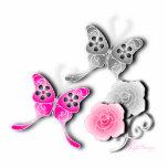 Mariposas elegantes y rosas rosados y de plata escultura fotográfica