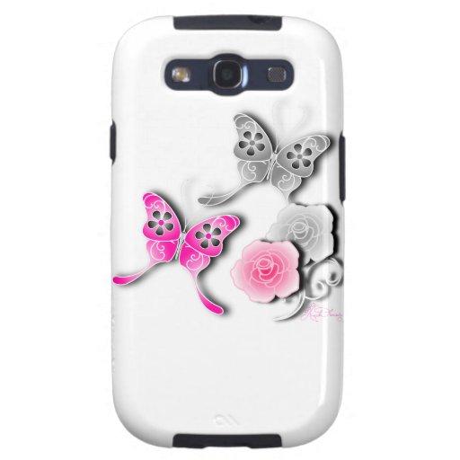 Mariposas elegantes y rosas rosados y de plata samsung galaxy s3 fundas
