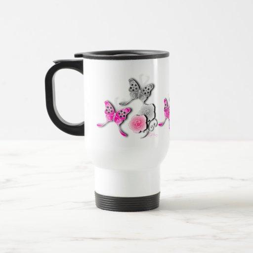 Mariposas elegantes y rosas rosados y de plata taza de viaje de acero inoxidable