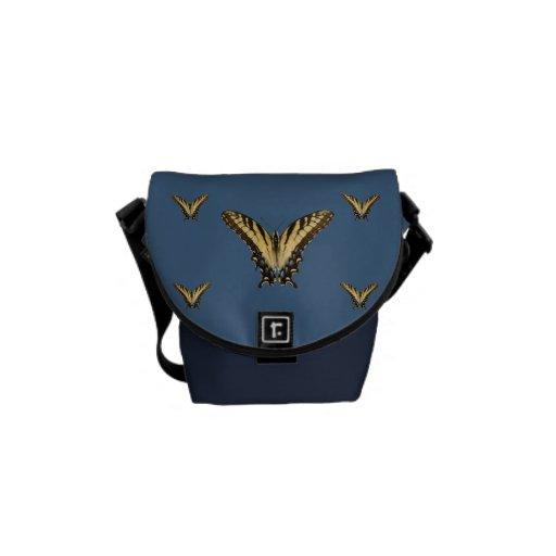 Mariposas en azul bolsa de mensajería