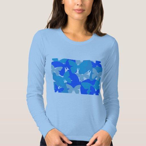 Mariposas en azul camisas