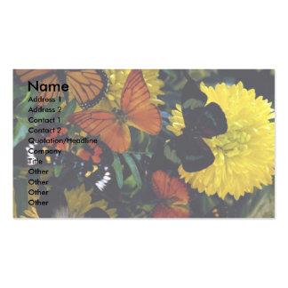 Mariposas en chrysanthamums plantillas de tarjetas de visita