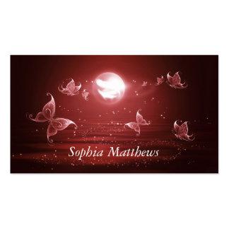 Mariposas en claro de luna carmesí tarjetas de visita