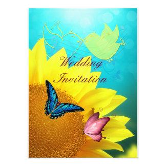 Mariposas en la invitación del boda del girasol
