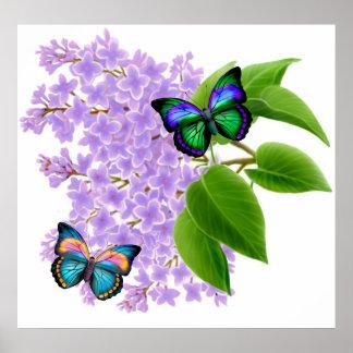 Mariposas en lilas póster