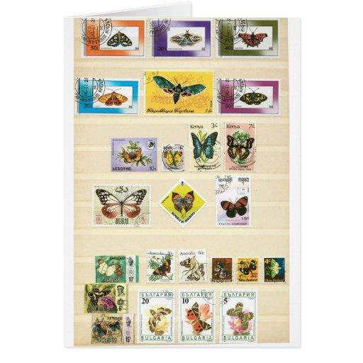 Mariposas en los sellos 1 tarjeta de felicitación