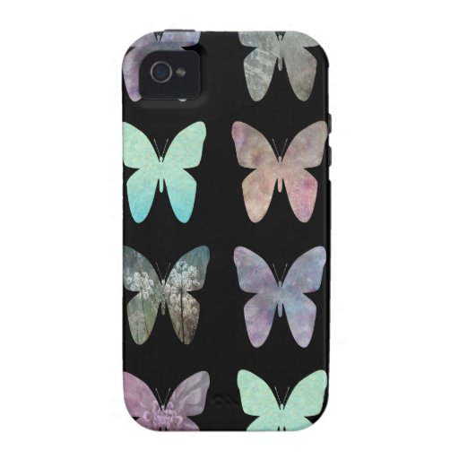 Mariposas en negro iPhone 4 carcasas