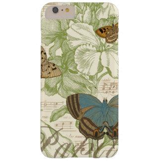 Mariposas en partitura con diseño floral funda para iPhone 6 plus barely there