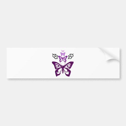 Mariposas en púrpura pegatina para auto