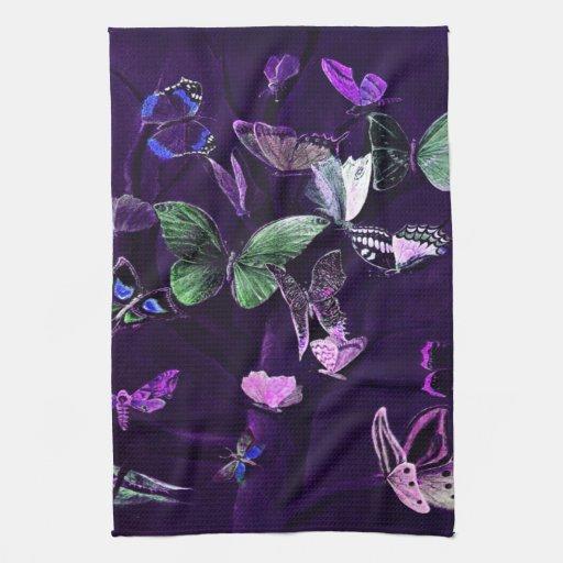 Mariposas en púrpura toallas de cocina
