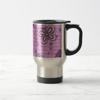 Mariposas en rosa y púrpura taza de café