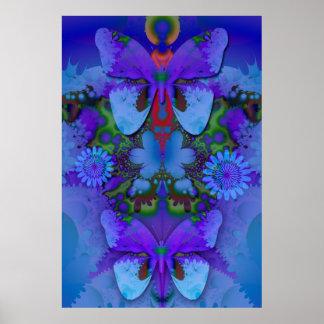 Mariposas en un poster púrpura azul del ambiente