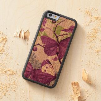 Mariposas en una rama funda de iPhone 6 bumper cerezo