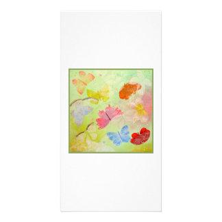 Mariposas en verde claro. tarjetas con fotos personalizadas