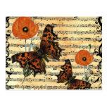 Mariposas europeas con las amapolas postales