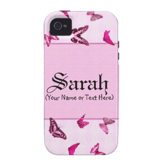 Mariposas femeninas rosadas iPhone 4 fundas