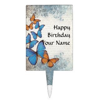 Mariposas florales azules figuras para tartas