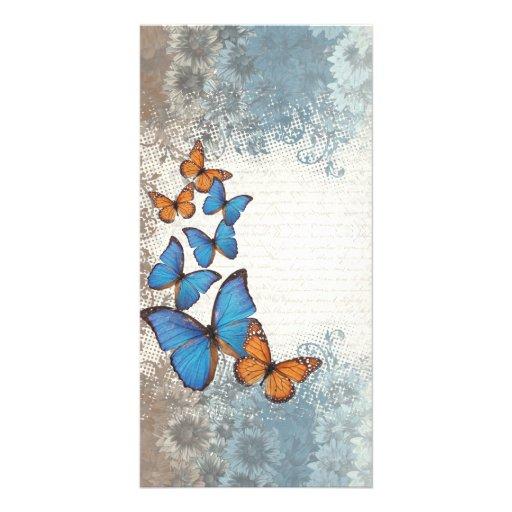 Mariposas florales azules tarjeta personal con foto