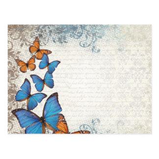 Mariposas florales azules tarjeta postal